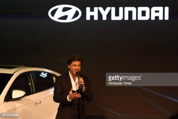 Bollywood actor Shah Rukh Khan launches the Swacch Can a portable bin for all Hundai cars during Auto Expo Motor Show 2018 on February 8 in Greater...