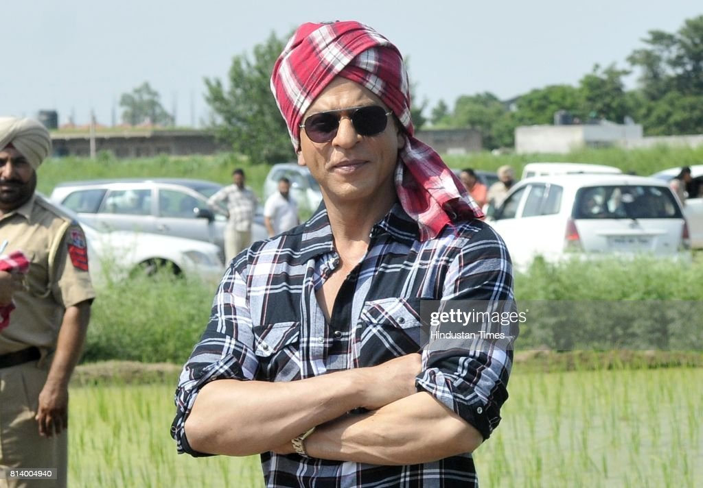 Bollywood actor Shah Rukh Khan posing during the promotion of his upcoming movie 'Jab Harry Met Sejal' at village Jhande on July 13 2017 in Ludhiana..