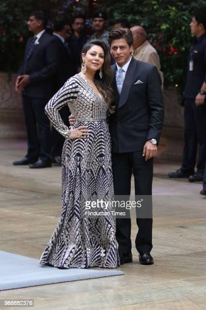 Bollywood actor Shah Rukh Khan with his wife and producer Gauri during the engagement party of Akash Ambani and Shloka Mehta at Estella Juhu at...