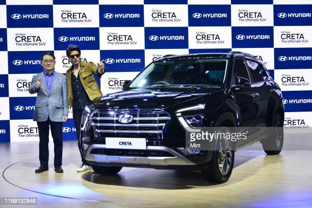 Bollywood actor Shah Rukh Khan with S S Kim MD & CEO, Hyundai Motor India Limited, unveiled the all-new Hyundai Creta at Auto Expo 2020, on February...
