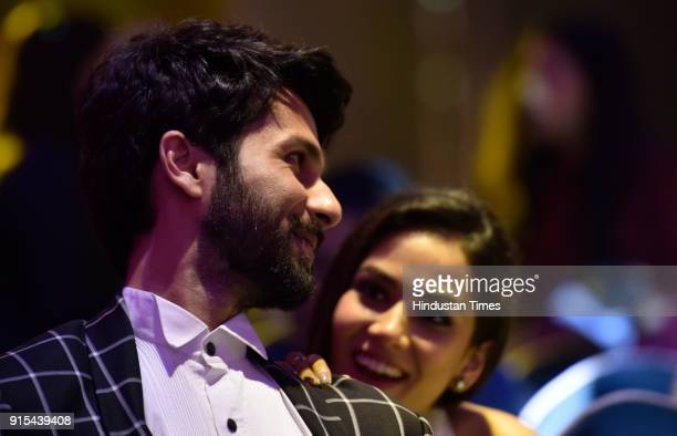 Bollywood actor Shahid Kapoor and his wife Mira Rajput during Hindustan Times India's Most Stylish Awards at Yash Raj Films Private Limited on...