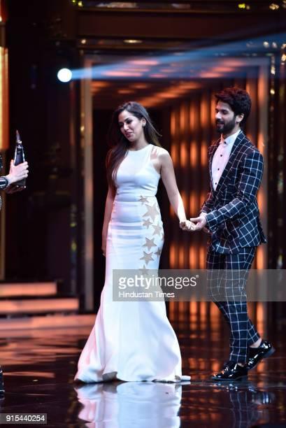 Bollywood actor Shahid Kapoor and his wife Mira Rajput during Hindustan Times India's Most Stylish Awards 2018 at Yash Raj Studios Andheri on January...