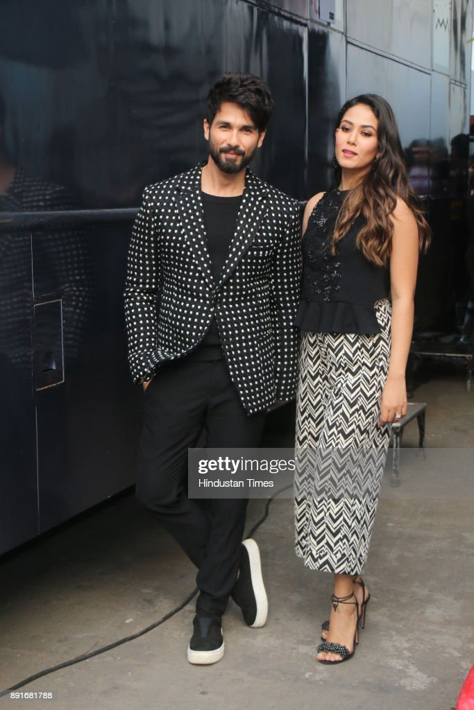 Bollywood actor Shahid Kapoor and Mira Rajput spotted on sets of Vogue BFFs which is hosted by the actress Neha Dhupia on December 11 2017 in Mumbai..