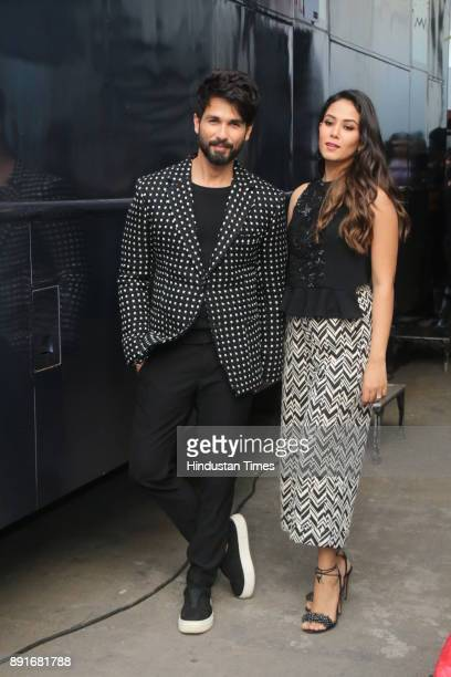 Bollywood actor Shahid Kapoor and Mira Rajput spotted on sets of Vogue BFFs which is hosted by the actress Neha Dhupia on December 11 2017 in Mumbai...