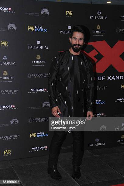 Bollywood actor Shahid Kapoor at the red carpet of premier of 'xXx Return of Xander Cage' movie on January 12 2017 in Mumbai India 'xXx Return of...