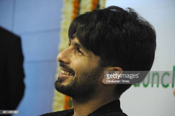 Bollywood actor Shahid Kapoor during a launch the Radiance in Fortis hospital on January 13 2015 in Gurgaon India Fortis Radiance is a Centre for...