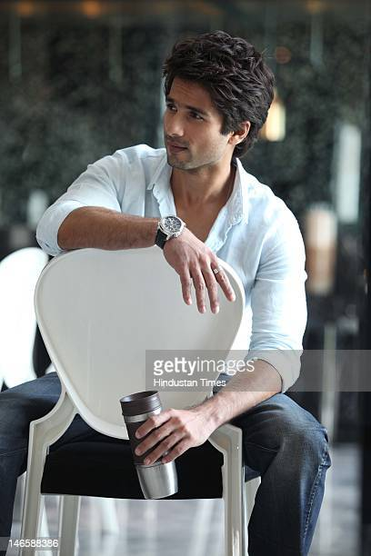 Bollywood actor Shahid Kapoor during photo shoot on June 16 2012 in New Delhi India His latest movie Teri Meri Kahani is scheduled to release on June...