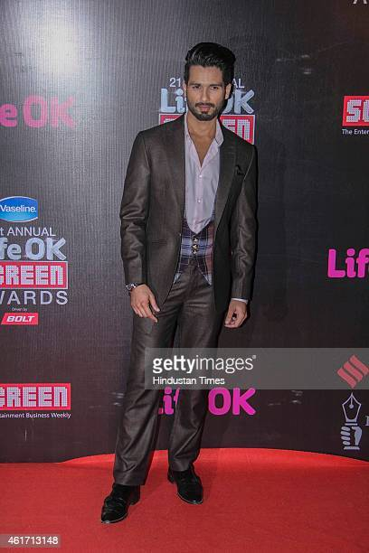 Bollywood actor Shahid Kapoor during the 21st Annual Life OK Screen Awards at Bandra Kurla Complex on January 14 2015 in Mumbai India
