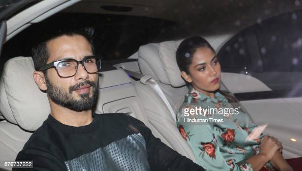 Bollywood actor Shahid Kapoor with Mira Rajput arrives at party thrown by Farha khan for English singer ED Sheeran at her residence Oberoi sky high...