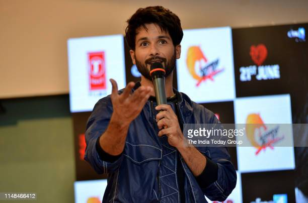 Bollywood Actor Shahid Kapoorclicked while interacting with the audience during the song launch of 'Mere Sohneya' from their upcoming film 'Kabir...