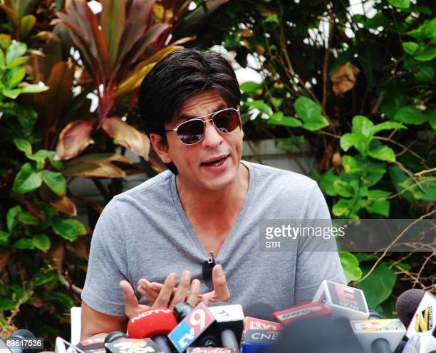 Bollywood actor Shahrukh Khan gives a press conference at his residence in Mumbai on August 18 2009 Khan returned to India from the United States...
