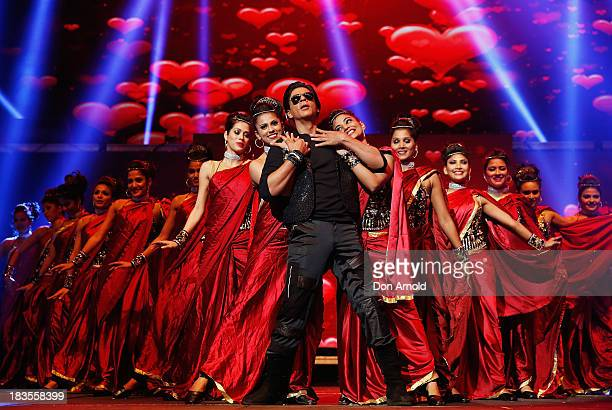 Bollywood actor Shahrukh Khan performs live on stage at Allphones Arena on October 7 2013 in Sydney Australia This performance of 'Temptation...