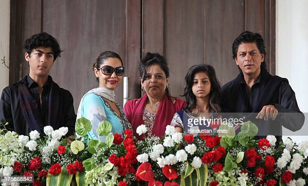 Bollywood actor Shahrukh Khan with his wife Gauri Khan children Aryan and Suhana as well as sister Shehnaz make an appearance in front of Media on...