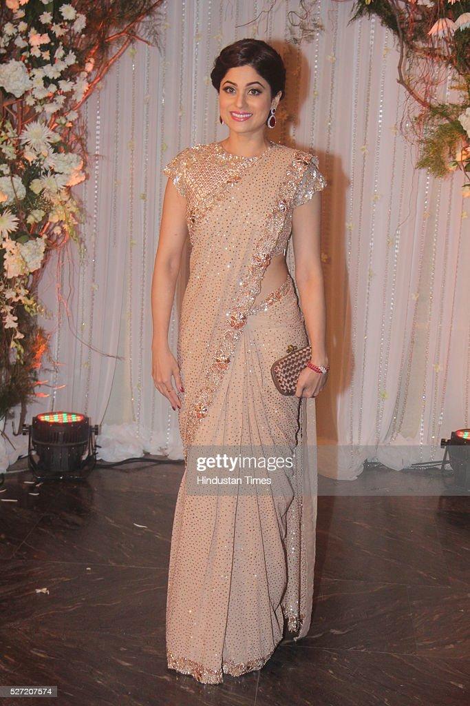 Bollywood actor Shamita Shetty at wedding reception of couple Bipasha Basu and Karan Singh on April 30 2016 in Mumbai India Bipasha Basu got married..