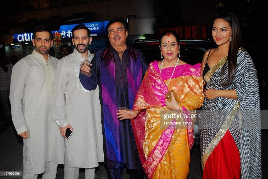 Bollywood actor Shatrughan Sinha with wife Poonam Sinha daughter Sonakshi Sinha and sons Luv and Kush during the Diwali celebrations at residence of..