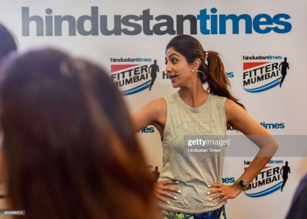 Bollywood actor Shilpa Shetty Kundra teaches yoga during the Hindustan Times Fitter Mumbai Campaign at Gold's Gym, Bandra, on August 12, 2017 in Mumbai, India. Shilpa Shetty said, 'I have to congratulate Hindustan Times for taking up this cause. The fact that I'm here shows that I think very highly of the Fitter Mumbai initiative. I'm more than happy to leverage my name to something that can make a difference to someone's life. I think health is an inalienable right of every human being.'