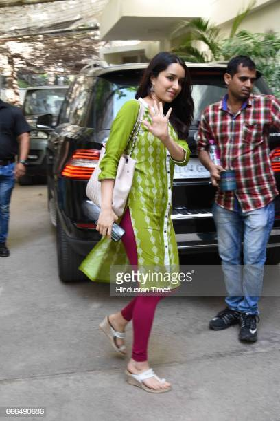 Bollywood actor Shraddha Kapoor spotted at a Sunny Super Sound Juhu on April 7 2017 in Mumbai India
