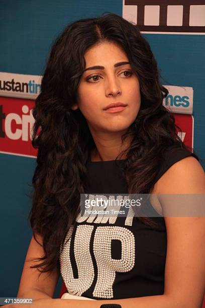 Bollywood actor Shruti Haasan during an exclusive interview for her upcoming movie Gabbar Is Back at HT Media Office on April 24 New Delhi India