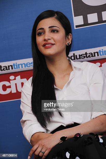 Bollywood actor Shruti Haasan during an exclusive interview with HT CityHindustan Times for the promotion of upcoming movie Welcome Back at HT Media...