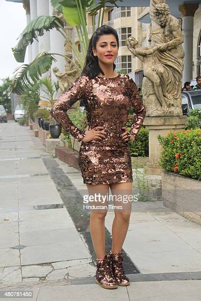 Bollywood actor Shruti Haasan during the onlocation shoot of title song of 'Welcome Back' at Imperial Palace Goregaon on July 13 2015 in Mumbai India