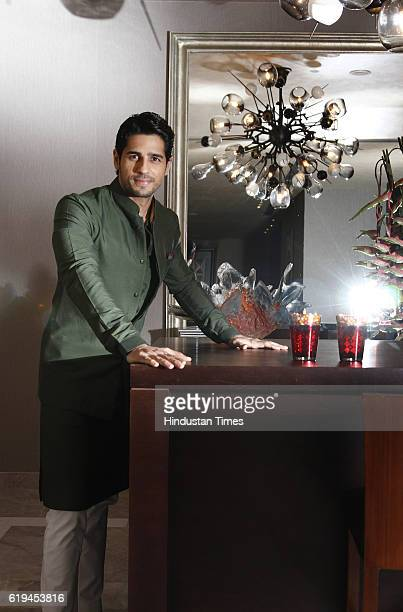 Bollywood actor Sidharth Malhotra posing for a profile shoot on the occasion of Diwali festival at Hotel Hyatt Regency on October 27 2016 in New...