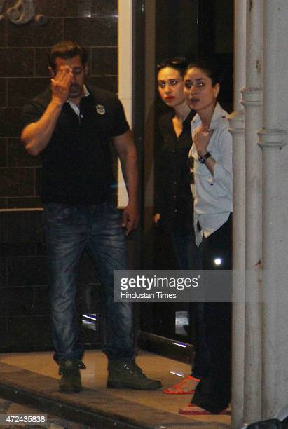 Bollywood actor sisters Kareena Kapoor Khan and Karisma Kapoor with Salman Khan at his residence a day after verdict in hit and run case on May 7...