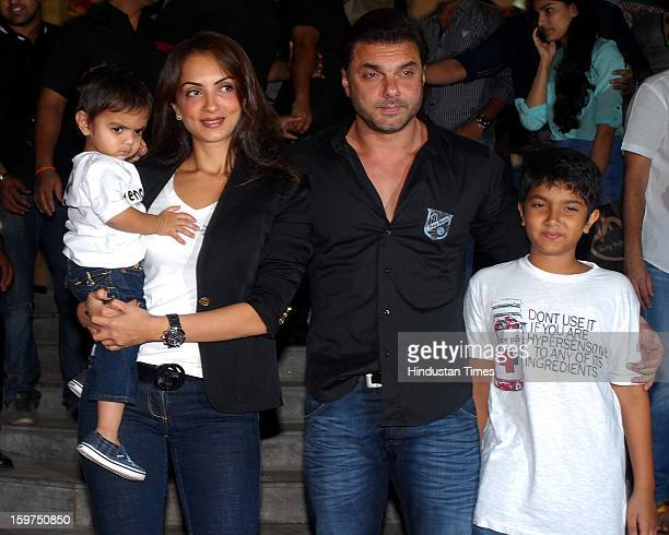 Bollywood actor Sohail Khan with his wife Seema Sachdev and sons Nirvaan and Yohan during Being Human store launch ceremony at Santa Cruz linking...