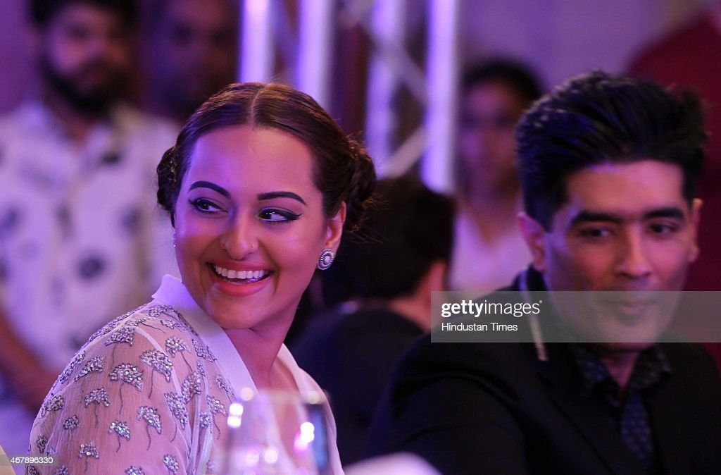Bollywood actor Sonakshi Sinha and fashion designer Manish Malhotra during the Hindustan Times Mumbai's Most Stylish Awards 2015 at JW Mariott Hotel, Juhu on March 26, 2015 in Mumbai, India.