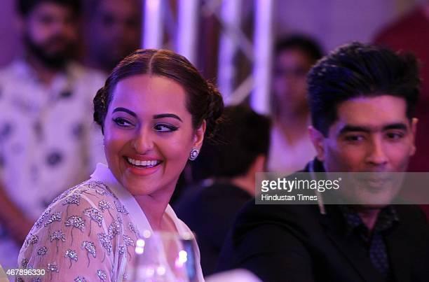 Bollywood actor Sonakshi Sinha and fashion designer Manish Malhotra during the Hindustan Times Mumbai's Most Stylish Awards 2015 at JW Mariott Hotel...