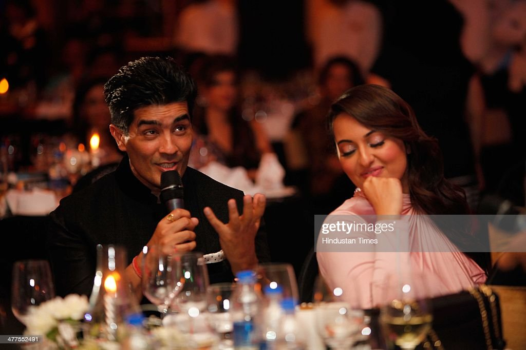 Bollywood actor Sonakshi Sinha and fashion designer Manish Malhotra during the Hindustan Times Mumbais `Most Stylish Awards 2014` event at ITC Grand..
