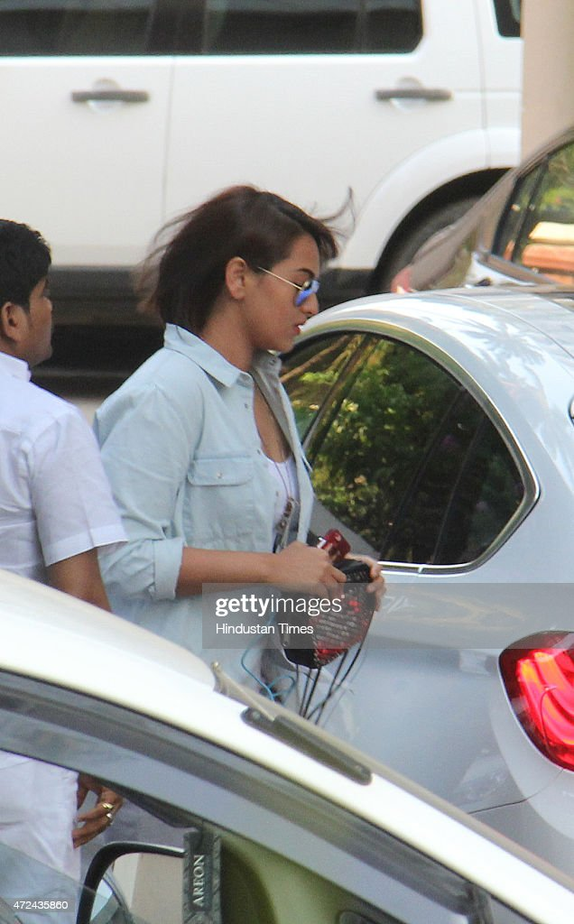 Bollywood actor Sonakshi Sinha arrives to meet Salman Khan at his residence a day after verdict in hit and run case on May 7 2015 in Mumbai India...