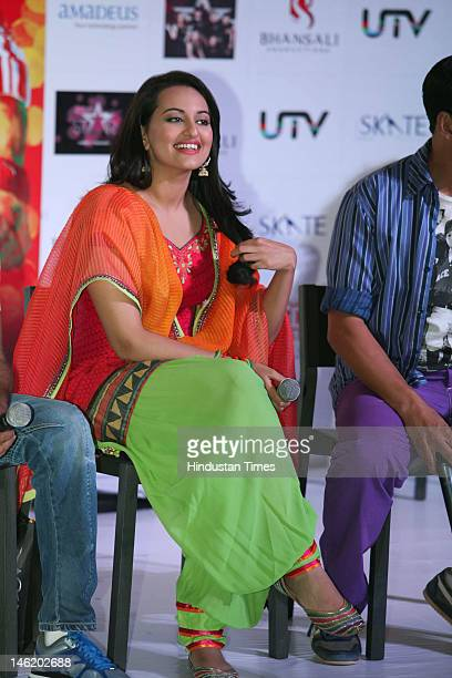 Bollywood actor Sonakshi Sinha attends the promotion of their upcoming film Rowdy Rathore at Ambience Mall on May 29 2012 in Gurgaon India