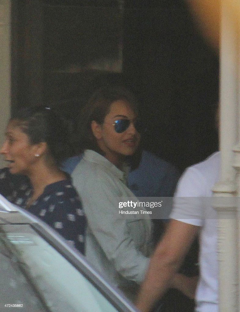 Bollywood actor Sonakshi Sinha comes out after meeting with Salman Khan at his residence a day after verdict in hit and run case on May 7 2015 in...