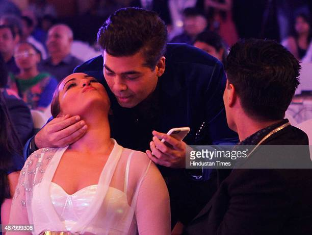 Bollywood actor Sonakshi Sinha director and producer Karan Johar and fashion designer Manish Malhotra during the Hindustan Times Mumbai's Most...