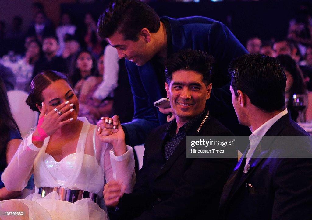 Bollywood actor Sonakshi Sinha director and producer Karan Johar and fashion designer Manish Malhotra during the Hindustan Times Mumbai`s Most...