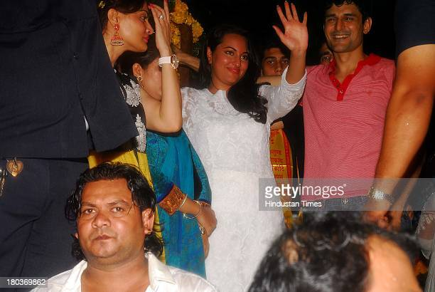 Bollywood actor Sonakshi Sinha during Ganpati immersion ceremony at Salman Khan's sister Alvira's residence Bandra on September 10 2013 in Mumbai...