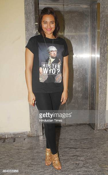Bollywood actor Sonakshi Sinha during the special screening of film Badlapur at PVR Juhu on February 19 2015 in Mumbai India