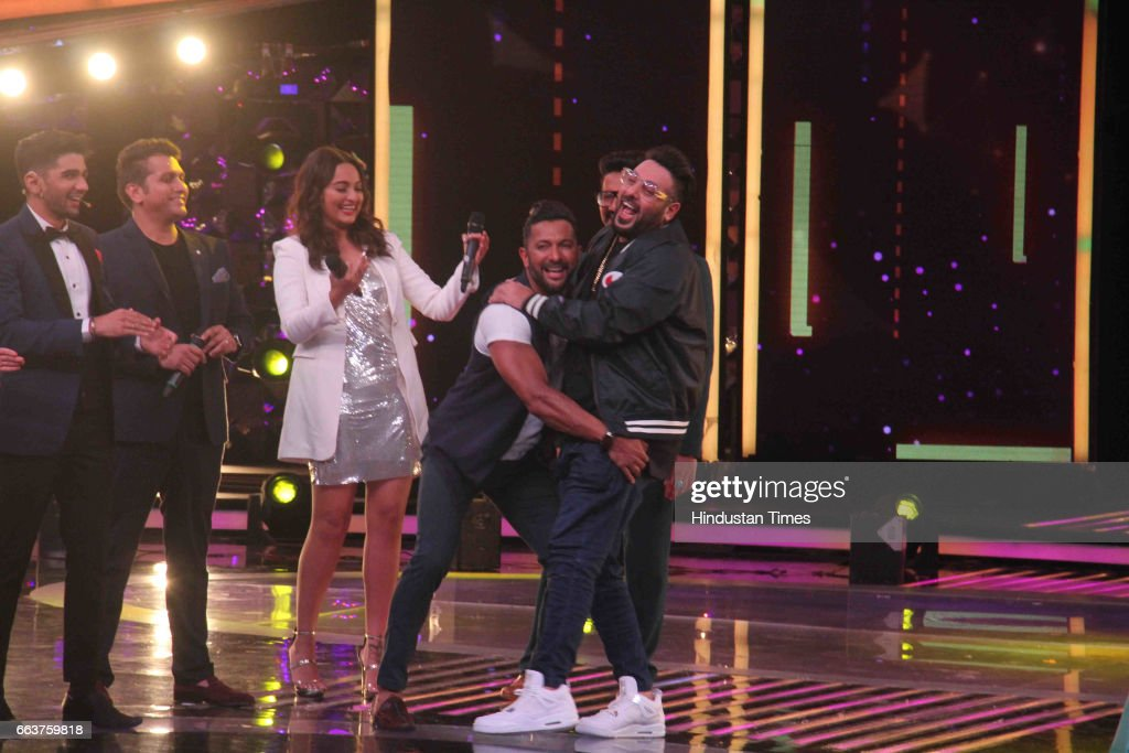 Bollywood actor Sonakshi Sinha filmmaker Mohit Suri singer Badshah and choreographer Terence Lewis during the promotion of film Noor and Nach Baliye..