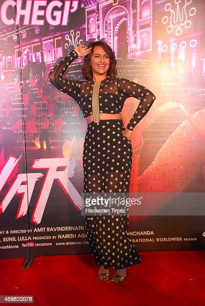 Bollywood actor Sonakshi Sinha performs a dance step during the launch of song Radha from film Tevar on November 25 2014 in Mumbai India