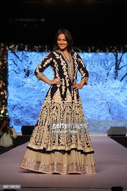 Bollywood actor Sonakshi Sinha walks on ramp during the 10th Annual Caring with Style Fashion Show in association with The Cancer Patients Aid...