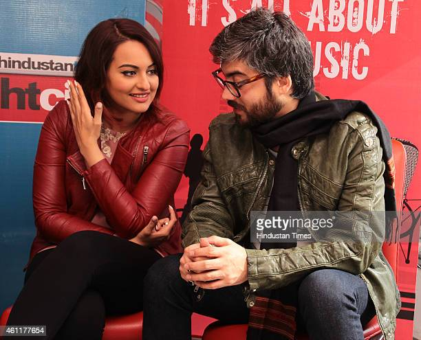 Bollywood actor Sonakshi Sinha with director Amit Sharma during an exclusive interview for their upcoming movie Tevar at HT Media Office on January...