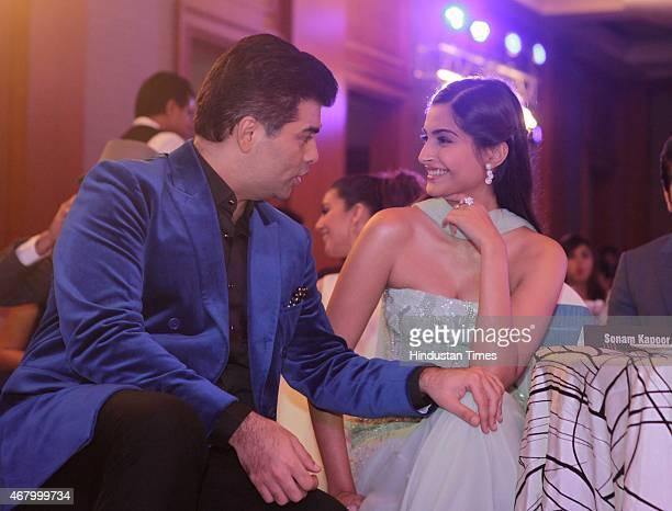 Bollywood actor Sonam Kapoor and director and producer Karan Johar during the Hindustan Times Mumbai's Most Stylish Awards 2015 at JW Mariott Hotel...