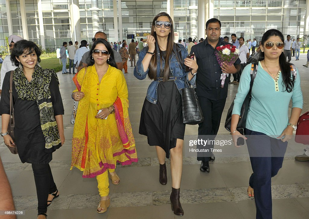 Bollywood actor Sonam Kapoor arrived at Chandigarh Airport to attend an event on November 23 2015 in Chandigarh India