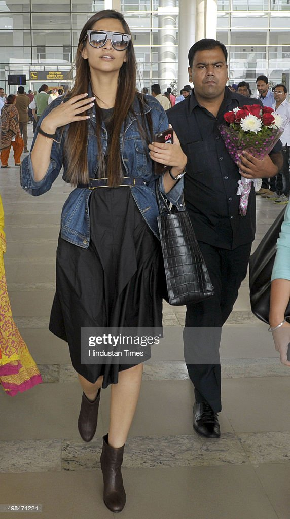 Bollywood actor Sonam Kapoor arrives at Chandigarh Airport to attend an event on November 23 2015 in Chandigarh India