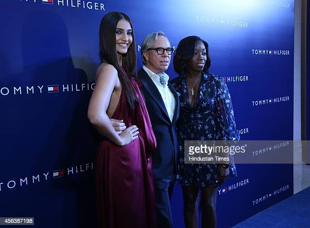 Bollywood actor Sonam Kapoor with Grammy Award winner singer Estelle and American fashion designer Tommy Hilfiger during a party to celebrate the...