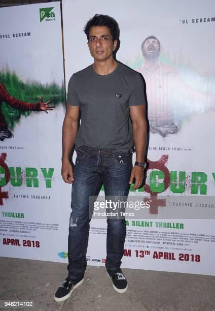 Bollywood actor Sonu Sood during the screening of film Mercury at Sunny Super Studio Juhu on April 12 2018 in Mumbai India