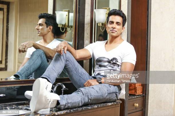 Bollywood actor Sonu Sood poses during an exclusive interview with Hindustan Times at Eros by Intercontinental Hotel Nehru Place on October 6 2017 in...