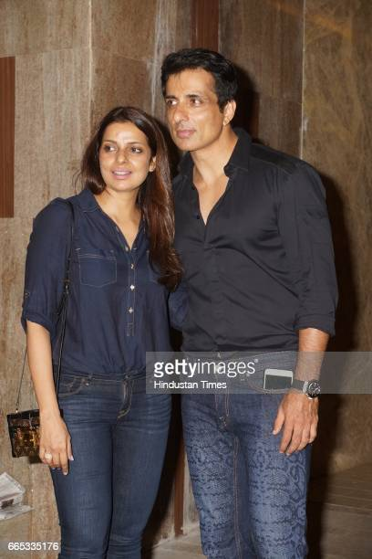 Bollywood actor Sonu Sood with his wife Sonal Sood during a party hosted by producer Ramesh Taurani at his Khar residence on April 4 2017 in Mumbai...