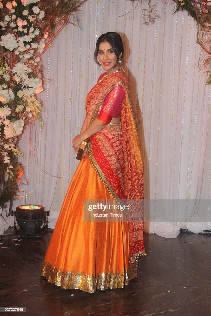 Bollywood actor Sophie Choudry at wedding reception of couple Bipasha Basu and Karan Singh on April 30 2016 in Mumbai India Bipasha Basu got married..