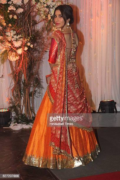 Bollywood actor Sophie Choudry at wedding reception of couple Bipasha Basu and Karan Singh on April 30 2016 in Mumbai India Bipasha Basu got married...